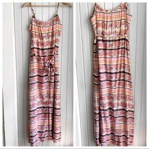 Lauren Conrad Floral Striped Belted Maxi Dress I
